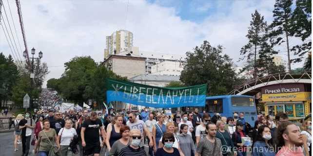 Поддержали белорусов. ВХабаровске шестую неделю подряд проходит акция протеста вподдержку Фургала