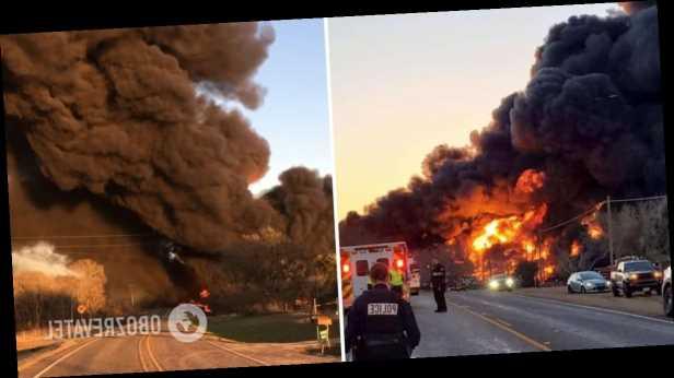 В США после столкновения поезда и грузовика произошел мощный взрыв и пожар. Фото и видео огненного ЧП