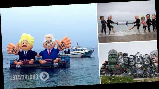 Активисты креативно встретили участников G7: надули Байдена и Джонсона и устроили борьбу за гигантский шприц. Фоторепортаж