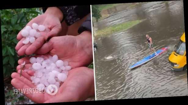 Люди плавали по улицам на байдарках: Беларусь накрыли мощные ливни с градом. Фото и видео