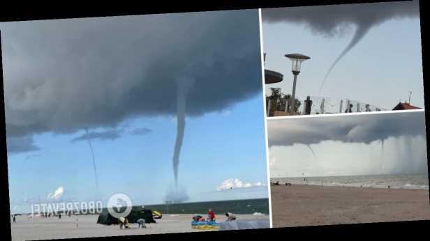 Огромные смерчи над Балтийским морем выгнали отдыхающих с пляжа. Видео