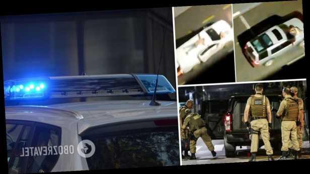 В Бразилии грабители банка сбежали от полиции, используя заложников в качестве живых щитов. Видео