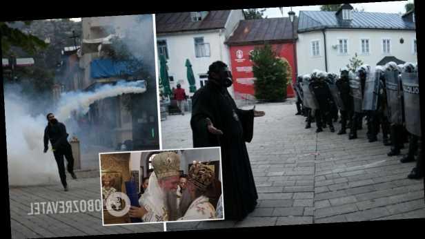 В Черногории произошли стычки из-за интронизации митрополита, полиция применила слезоточивый газ. Фото