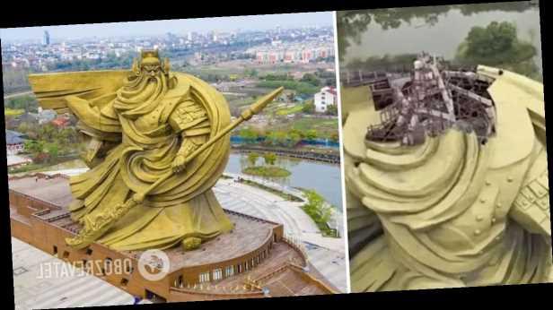 В Китае разгорелся скандал вокруг гигантской статуи бога войны: чтобы ее переместить, нужно $20 млн. Фото